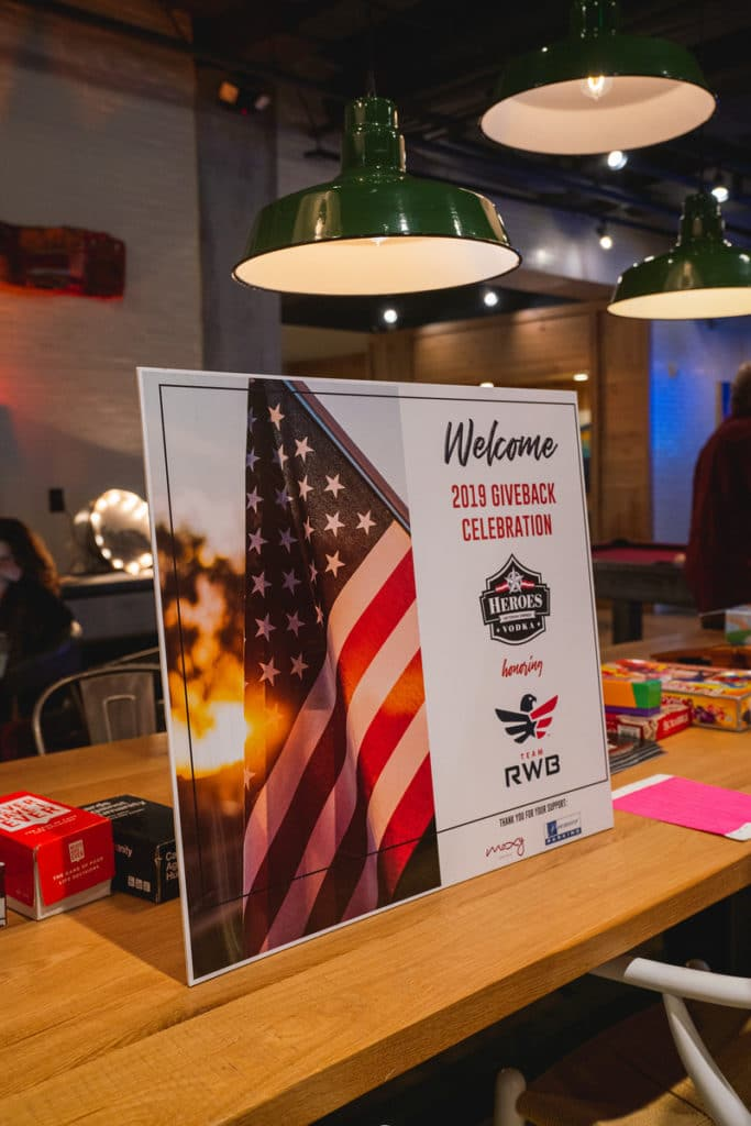 heroes vodka and team red white and blue 2019 giveback celebration at Moxy Hotel in downtown Nashville